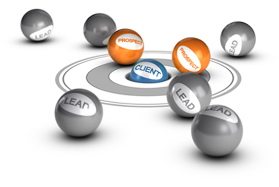 Billiard balls labeled as leads, prospects and clients for B2B lead generation.